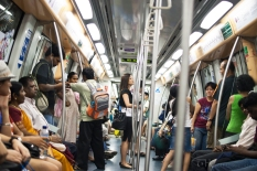 MRT ride in Singapore.